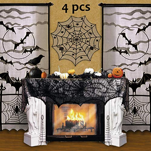 Pawliss Halloween Black Lace Decorations Indoor Party Decor, Bat Window Curtains, Spider Web Fireplace Mantle Scarf Cover, Spiderweb Table Topper Tablecloth, Set of 4 -