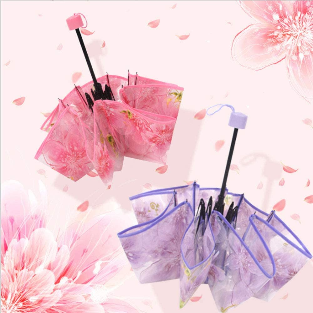 3 Folding Cherry Blossom Rain Wind Umbrella Full Automatic Folding Transparent Clear Auto Travel Umbrella for Women Girls