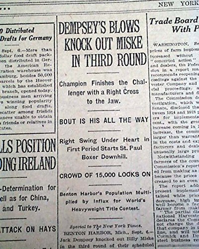 Boxer JACK DEMPSEY Heavyweight Boxing Title vs. Billy Miske 1920 Old Newspaper THE NEW YORK TIMES, September 7, 1920 (Best Boxing Bouts Of All Time)