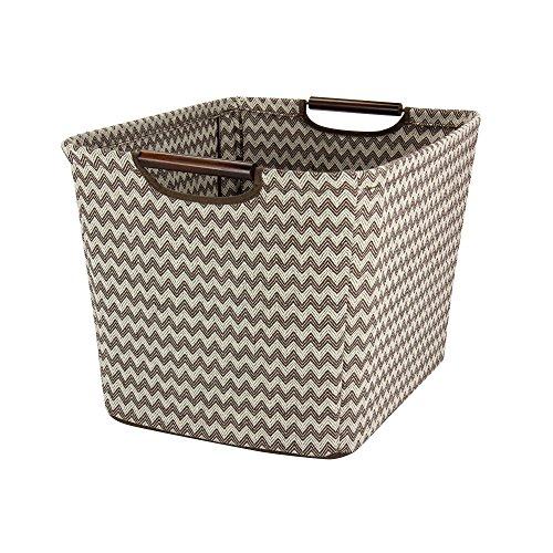 - Household Essentials 661-1 Medium Tapered Fabric Storage Bin with Wood Handles |Brown Chevron