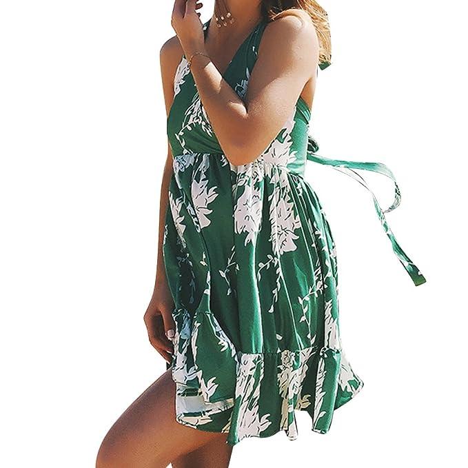 Vestido Para Mujer,Boho Mujer Verano sin mangas Beach Printed Mini vestido corto Casual Slim Falda Para Fiesta Highdas S-2XL: Amazon.es: Ropa y accesorios