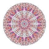 LEEVAN Modern Non-Slip Backing Machine Washable Round Area Rug Living Room Bedroom Children Playroom Soft Flannel Microfiber Carpet Floor Mat Home Decor 4' Diameter,Pink Mandala