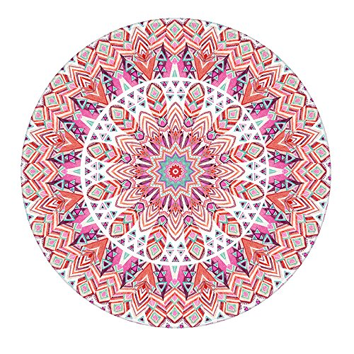 LEEVAN Modern Non-Slip Backing Machine Washable Round Area Rug Living Room Bedroom Children Playroom Soft Flannel Microfiber Carpet Floor Mat Home Decor 4' Diameter,Pink Mandala