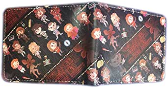 Aierwen STRANGER THINGS Print Short Bi-fold Wallet Unisex Coin Purse Fashion Boys and Girls Pencil Bags