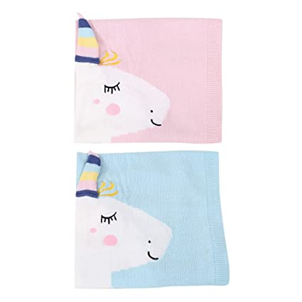 Baosity 2 pcs de Mantas Encantadora de Punto Suave Unicorn de Azul Rosa para Bebés