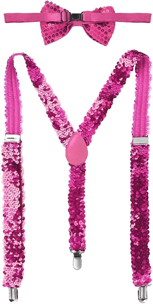 Freebily Bretelle Donna Colorate Regolabili Paillettes Bratelle Elastiche A Forma Y Clip Di Pantaloni Festa Di Ballo con Cravatta a Farfalla Costume Carnevale Halloween