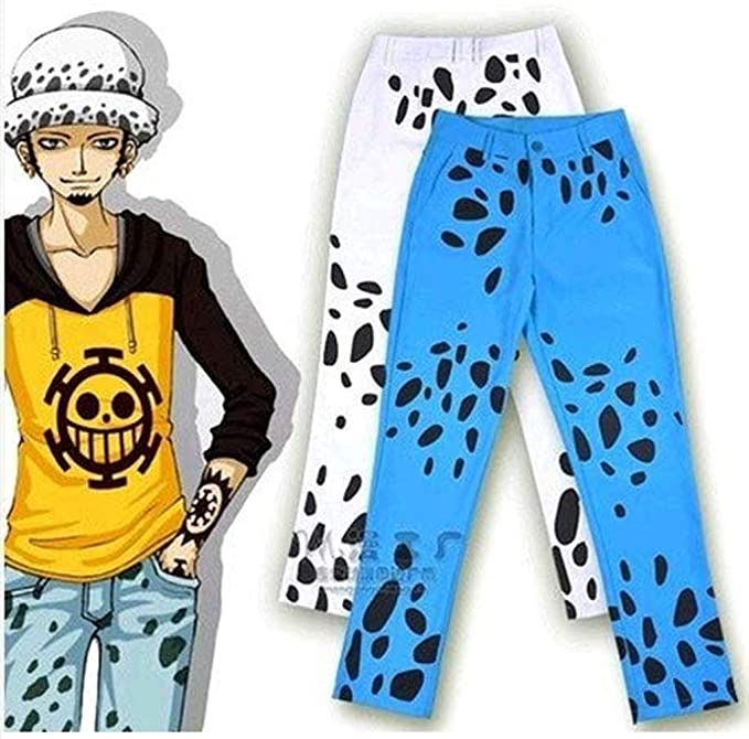 b82bc560e Amazon.com: MOKACOCO Anime One Piece Trafalgar Law Doctor Death Pants Cosplay  Costume Trousers Blue: Clothing