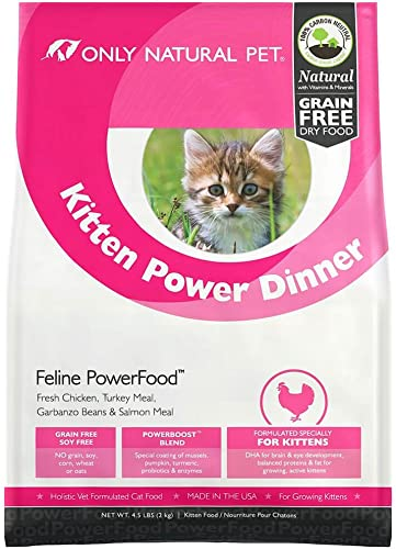 Only Natural Pet Natural Dry Cat Food, Holistic Kitten Power Dinner Feline PowerFood – Chicken Turkey Blend