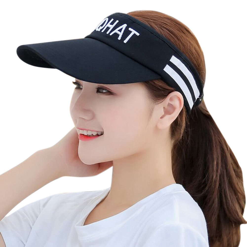 58e2cd48d1c HINDAWI Visor Hat for Women Sun Hat Sports Golf Tennis Running Caps Black  at Amazon Women s Clothing store