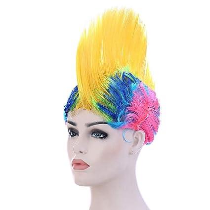 Peluca de colores arcoíris para disfraz de Halloween, fiesta, disfraz, adorno