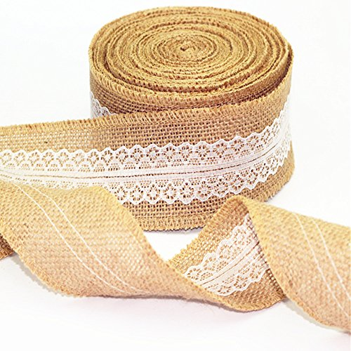 Burlap Lace Ribbon Craft for Wedding and Home Decor, 156 Inches