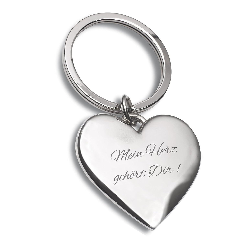Ideal als Geschenkidee am Valentinstag oder f/ür Verliebte Schl/üsselanh/änger Herz silber mit Gravur Mein Herz geh/ört Dir