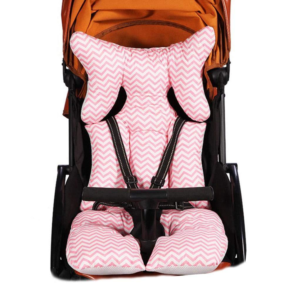 Waroomss Coussin de poussette de b/éb/é coussin de si/ège de chaise haute quatre saisons universelles oreiller de coton de soutien de t/ête et de corps motif a/érien respirable maille dair 3D