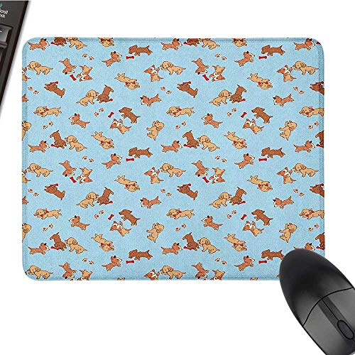 Large Gaming Mouse pad Dog,Checkered Square Pattern Background Playful Puppies Paw Print Golden Retriever Breed, Multicolor Ergonomic Mouse pad 9.8 x11.8 INCH