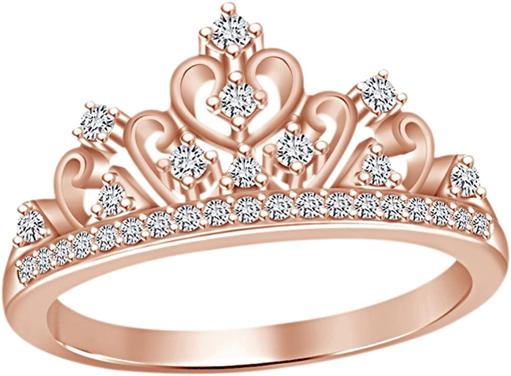 AFFY Round Cut White Cubic Zirconia Princess Crown Ring in 14k Gold Over Sterling Silver