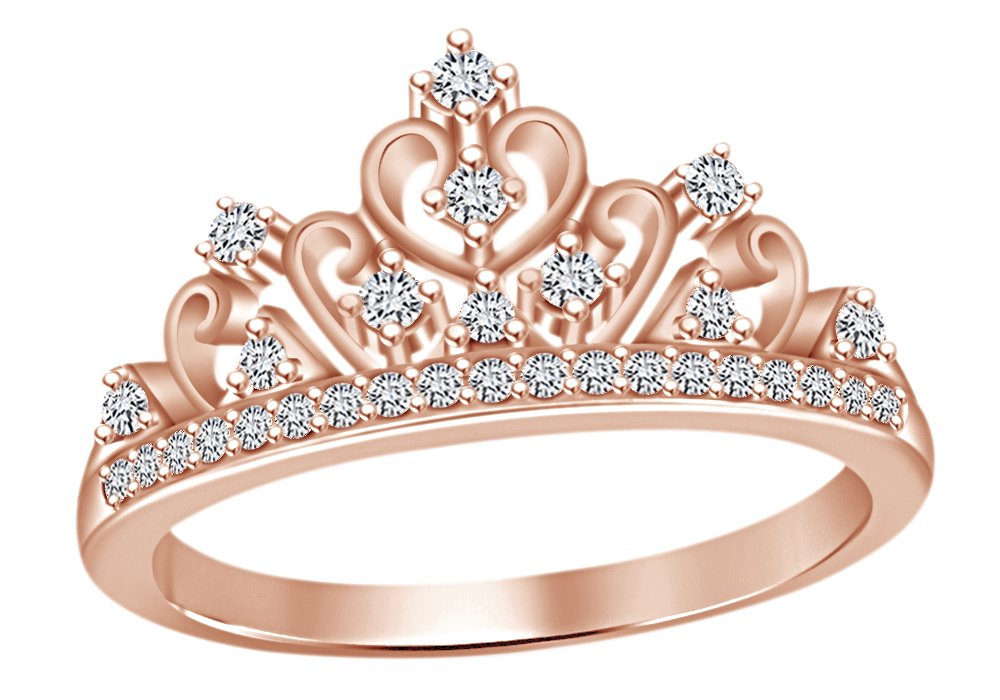 AFFY Round Cut White Cubic Zirconia Princess Crown Ring In 14k Rose Gold Over Sterling Silver