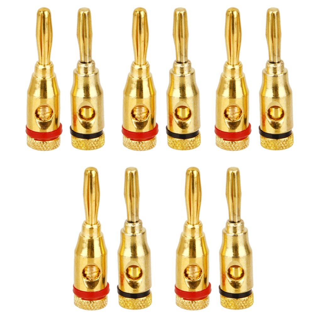 10x Gold plated Musical Speaker Cable Wire Screw Banana Plug Connector 4MM Generic STK0151000094