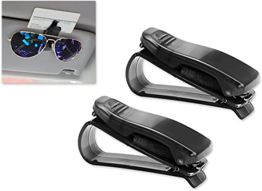 Auto 360/° Rotatable Double Eyeglass Holder with Ticket Card Clip 2 Pack Kitbest Sunglass Holder for Car Sun Visor Visor Sunglasses Holder Glass Clip Mount