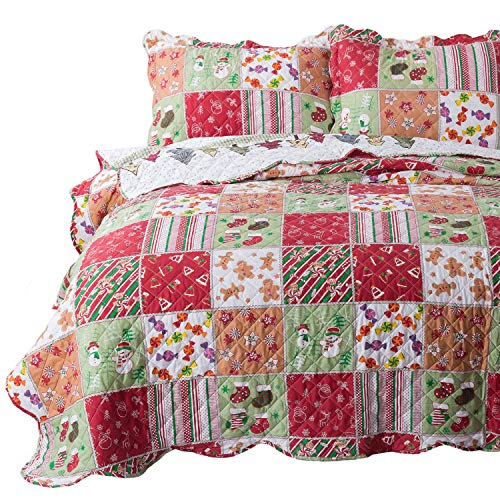 Bedsure Christmas Quilt Set King Size (106x96 inches) - Multicolor Printed Pattern - Soft Microfiber Lightweight Coverlet Bedspread for All Season - 3-Piece Bedding (1 Quilt + 2 Pillow Shams) (Quilt Holiday Sets)
