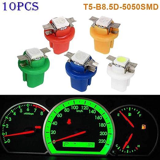 Juego de 10 luces LED SMD para interior de coche color azul claro indicador de salpicadero T5 5050
