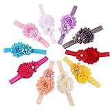 Malloom® 10pcs Bébé élastique Fleur Multicolore Bande de Cheveux Bandeau en Strass