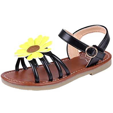 84178f2fa Litfun Kids Girls Black Open Toe Strap Flat Flower Sandals (Toddler Little  Kid