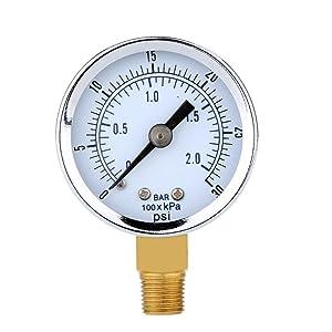 Magideal 0-30psi 0-2bar Mini Dial Air Compressor Meter Hydraulic Pressure Gauge