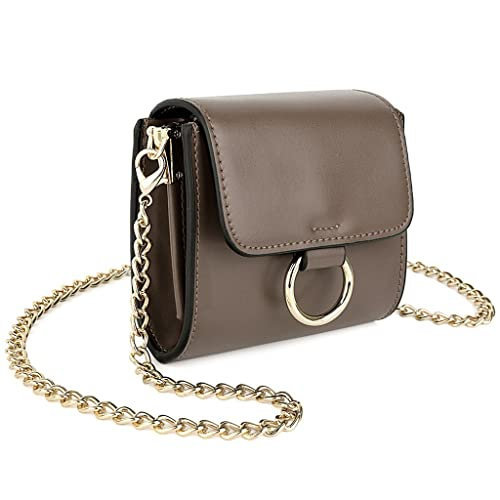 820652d9bdd UTO Soft PU Leather Mini Crossbody Bag with Chain Strap Makeup Card Holder  Purse Grey
