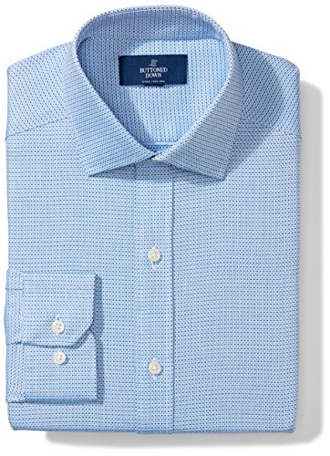 Buttoned Down Men's Fitted Spread Collar Pattern, Blue Small Check, 19