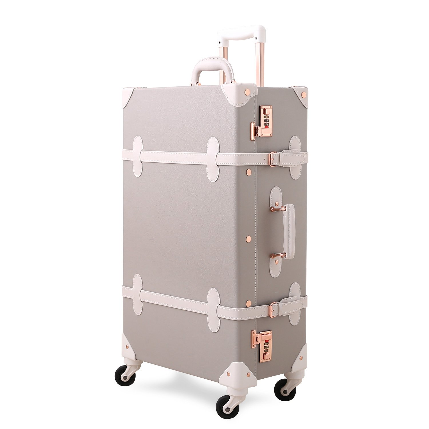 Unitravel Luggage Spinner Wheels Vintage Suitcase Travel PU Trunk Lightweight CA-6050-Ivory-20