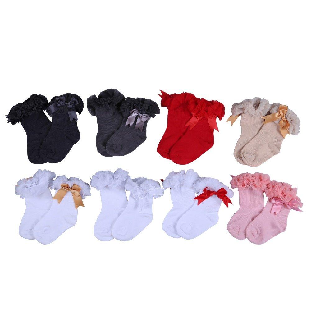 Weixinbuy Baby Girls Princess Bowknot Sock Lace Ruffle Cotton Ankle Socks 0-5 Years