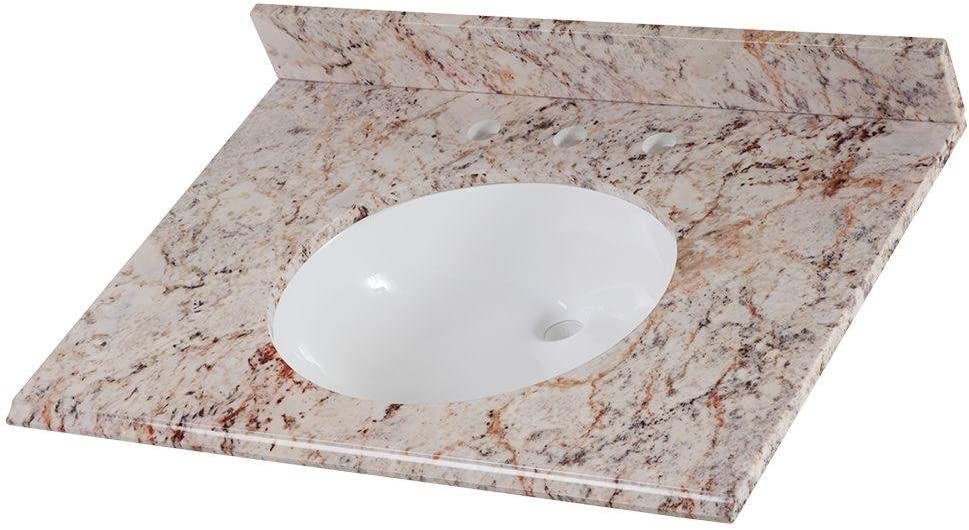 Home Decorators Collection 31 In Stone Effects Vanity Top In Rustic Gold With White Basin Amazon Com