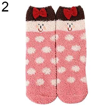 [Calcetines ]-invierno lindo Navidad dibujos animados orejas de animal mujeres Coral forro polar cálido Slipper calcetines llegar antes de Navidad 2# talla ...