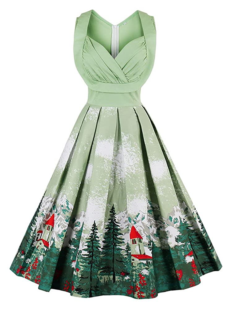 Vintage Christmas Gift Ideas for Women 1950s Cut Out V-Neck Vintage Casual Party Cocktail Swing Dress Killreal Womens  $29.69 AT vintagedancer.com