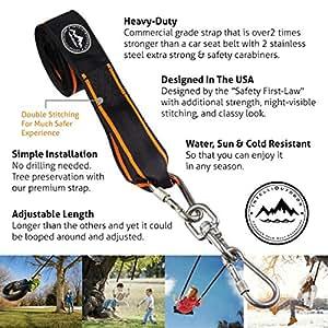 Kit de correas para colgar columpios en árboles, extra largo (3 m), soportan 1.338 kg (certificado SGS), anillas ajustables, respetuosas con los árboles, para colgar rápida y fácilmente cualquier columpio