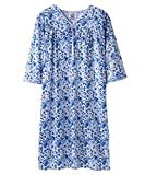 Womens Adaptive Hospital Gown Open Back Regular & Plus Sizes - Blue Watercolor LGE