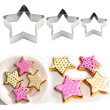 Littleduckling Stainless Steel 3pcs Stars Cake Cookie Cutter Mold Pastry Biscuit Baking Stamp Moulds