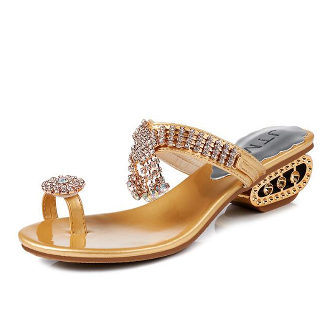 ZHONGST Frauen Sommermode Sandalen Frauen Temperament Hausschuhe Sandalen  36|Gold