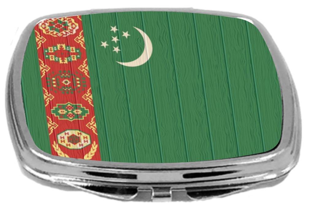 Rikki Knight Compact Mirror on Distressed Wood Design, Turkmenistan Flag, 3 Ounce