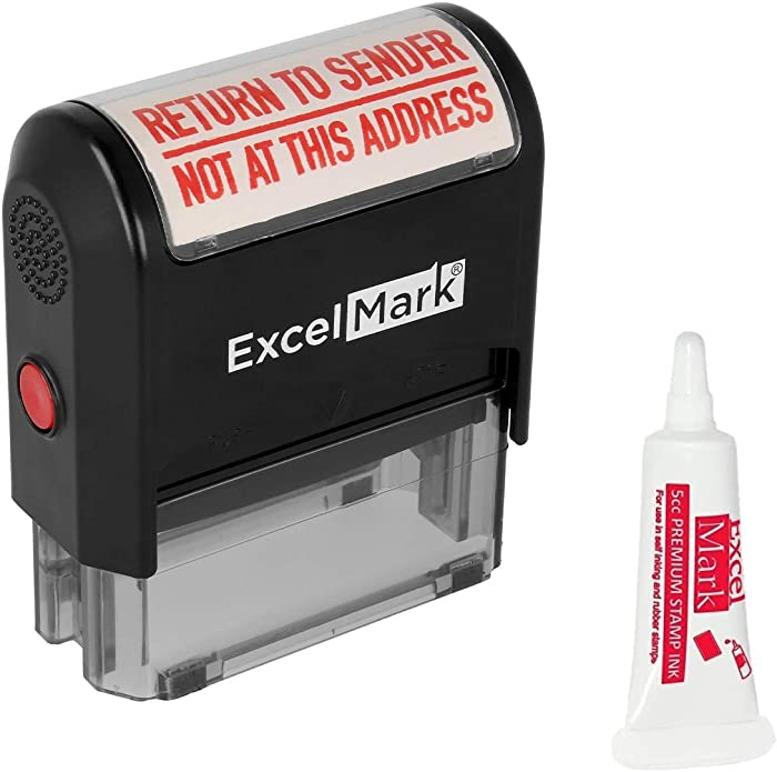 ExcelMark Return to Sender NOT at This Address Self Inking Rubber Stamp - Red Ink (A2359) - Large Size (Stamp Plus 5cc Refill Ink)