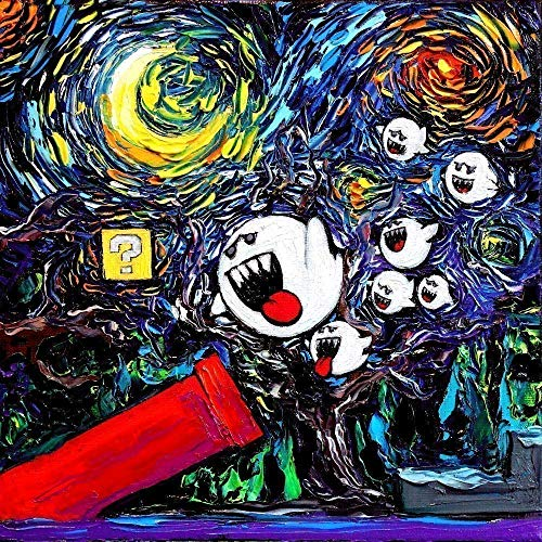 Video Game Wall Art Print Starry Night Ghost Halloween van Gogh Never Saw Ghosts by Aja choose size and type of paper -