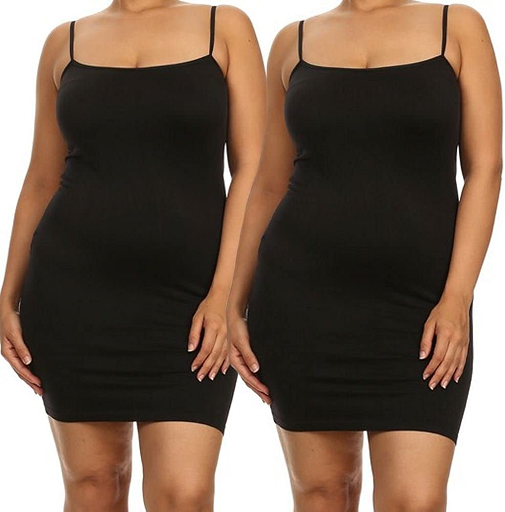 Womens Plus Size Nylon Seamless Long Cami Slip Dress Plus, Black//Black