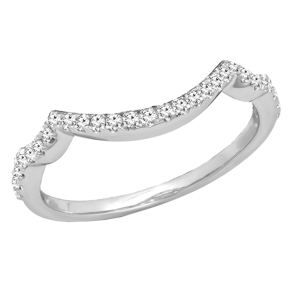 0.20 Carat (ctw) 14K White Gold White Diamond Ladies Wedding Contour Guard Ring 1/5 CT (Size 7)