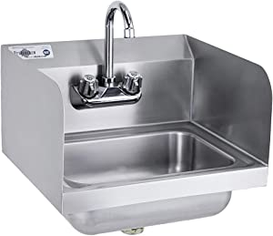 "Profeeshaw Stainless Steel Sink Commercial Wall Mounted Hand Washing Basin NSF with Gooseneck Faucet and Side Splash for Kitchen or Bar 17"" x 15"""