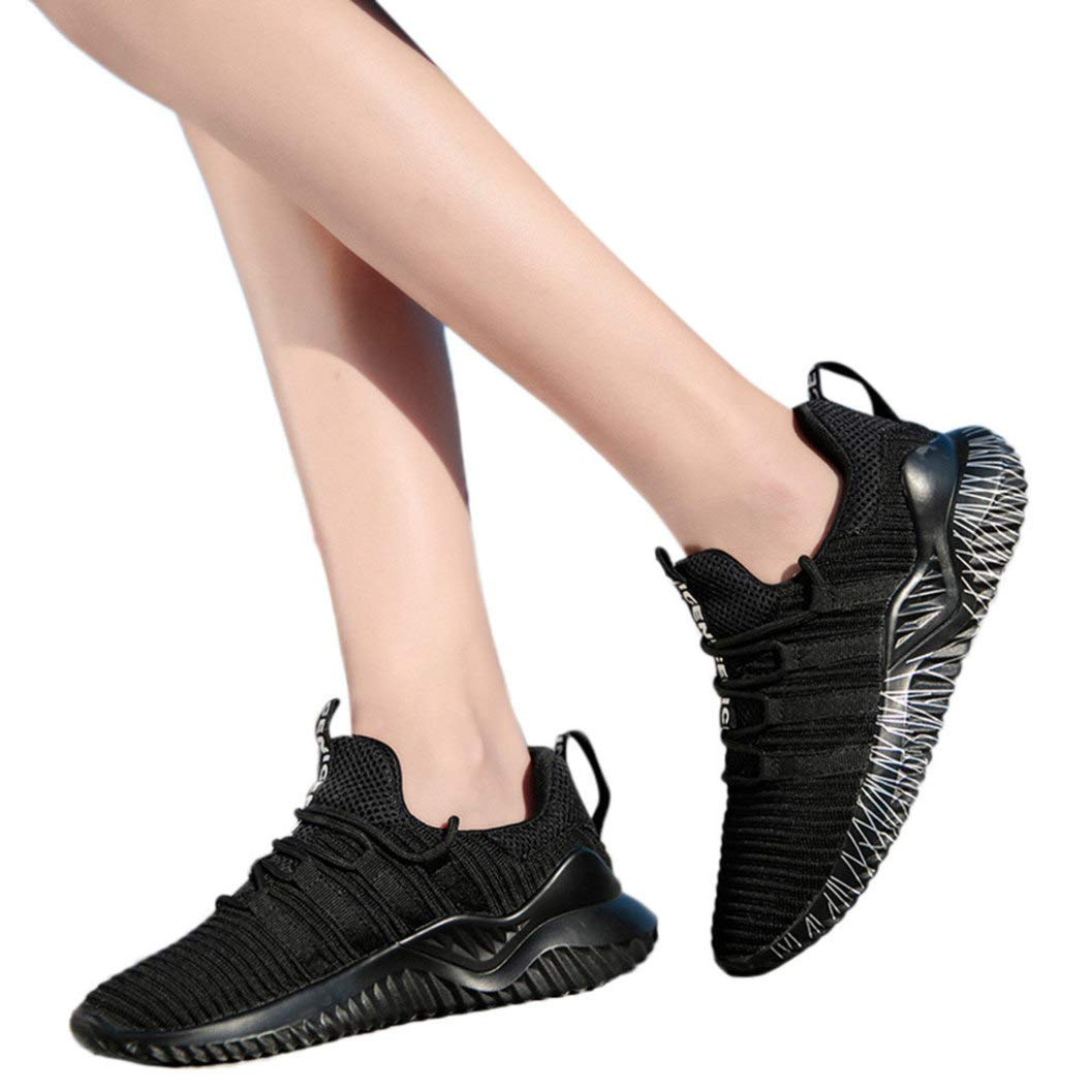 JOYBI Women Flat Fitness Sneakers Mesh Slip On Comfortable Round Toe Lace-Up Unisex Casual Running Sport Shoes