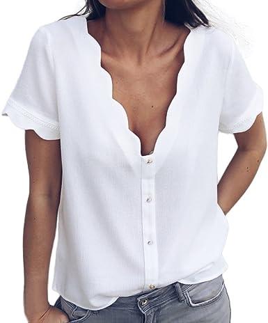 Camisetas Mujer Botón de Encaje Blanco para Mujer Camisa de Manga Corta con Cuello en v Blanco, Doble Uso Simple,Casual Suelto Blusa Jersey Sudadera Camisa Blusa Verano riou: Amazon.es: Ropa y accesorios