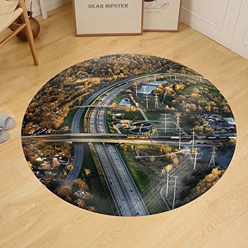 Gzhihine Custom round floor mat Aerial View of Interstate and Railroad in Chicago - In Stores Outlet Illinois