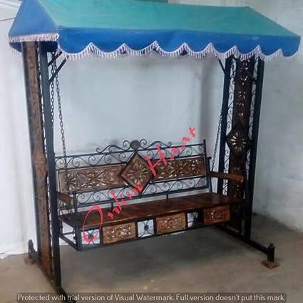 Online Haat Wooden n Wrought Iron Garden and Balcony dismental Swing Garden/Jhula/Hammocks for Home Outdoor Garden Balcony (Portable)