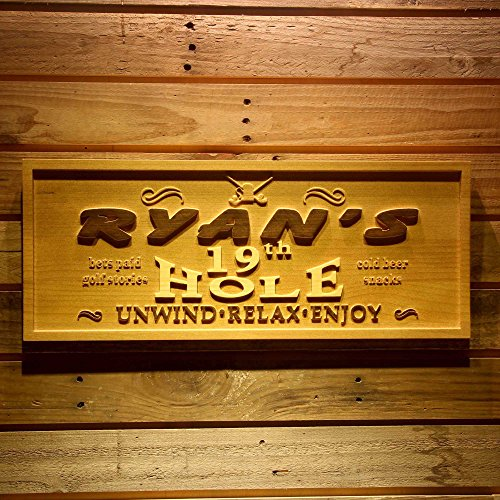ADVPRO wpa0131 Name Personalized 19th Hole Golf Sport Wood Engraved Wooden Sign - Medium 18.25