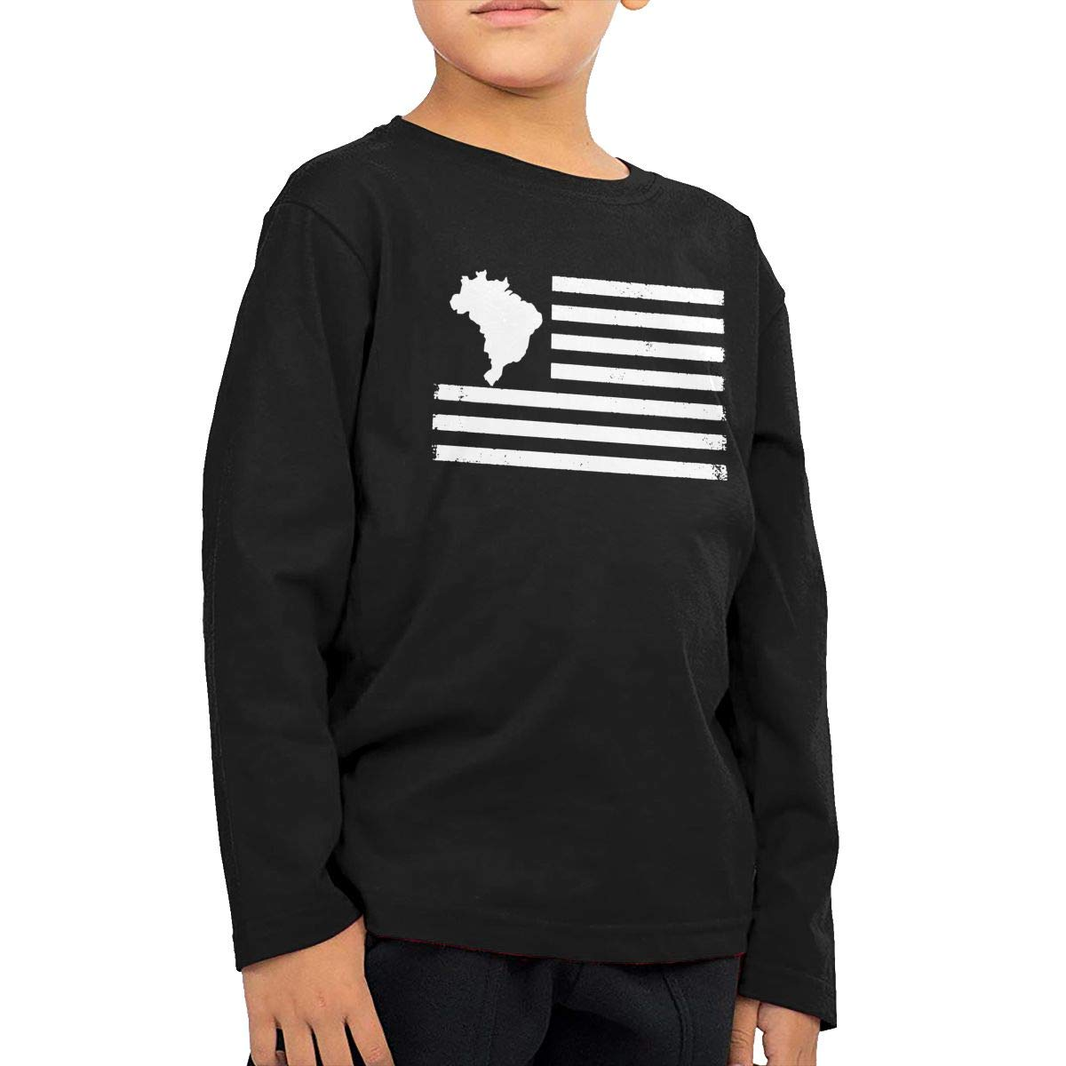 Brazil Map Flag Vintage USA Fashion Toddler Kid Baby Boys Girls Long Sleeve Shirt Clothing